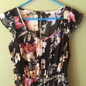 American Rag black floral dress w/black underslip.